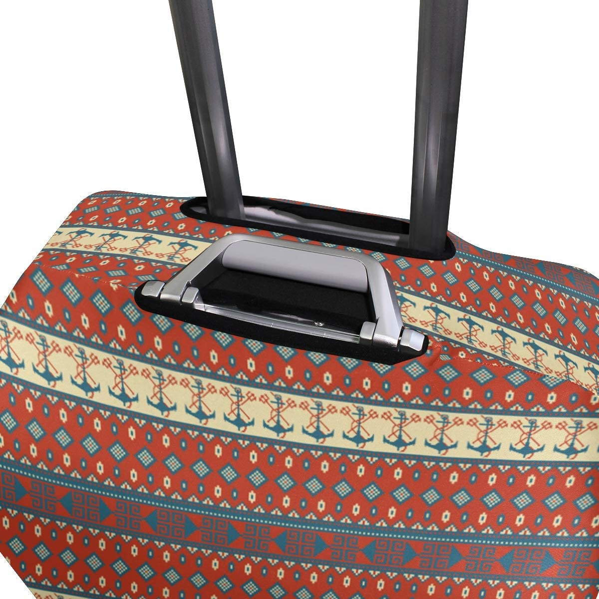 Fashion Travel Exotic Knitted Pattern With Anchor Luggage Suitcase Protector Washable Baggage Covers