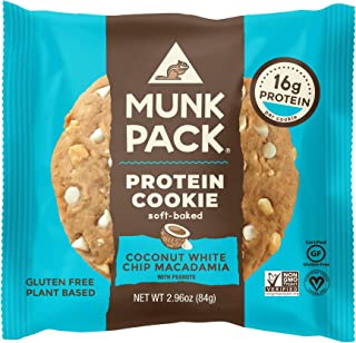 product image for Munk Pack Coconut White Chip Macadamia Protein Cookie with 16 Grams of Protein | Soft Baked | Vegan | Gluten, Dairy and Soy Free | 6 Pack