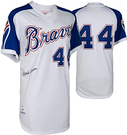 hot sale online b9682 eac81 Hank Aaron Atlanta Braves Autographed Mitchell and Ness 1974 ...
