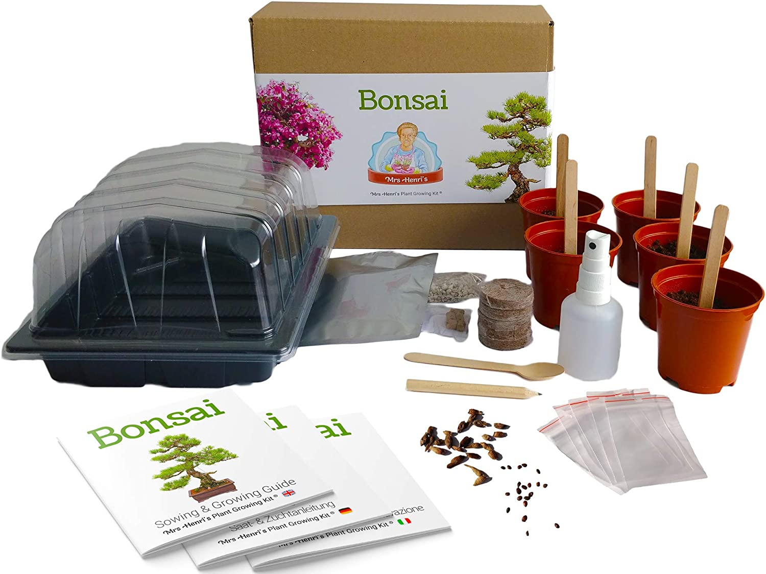 Bonsai - Mrs Henris Plant Growing Kit. Cultive 5 Bonsáis ...