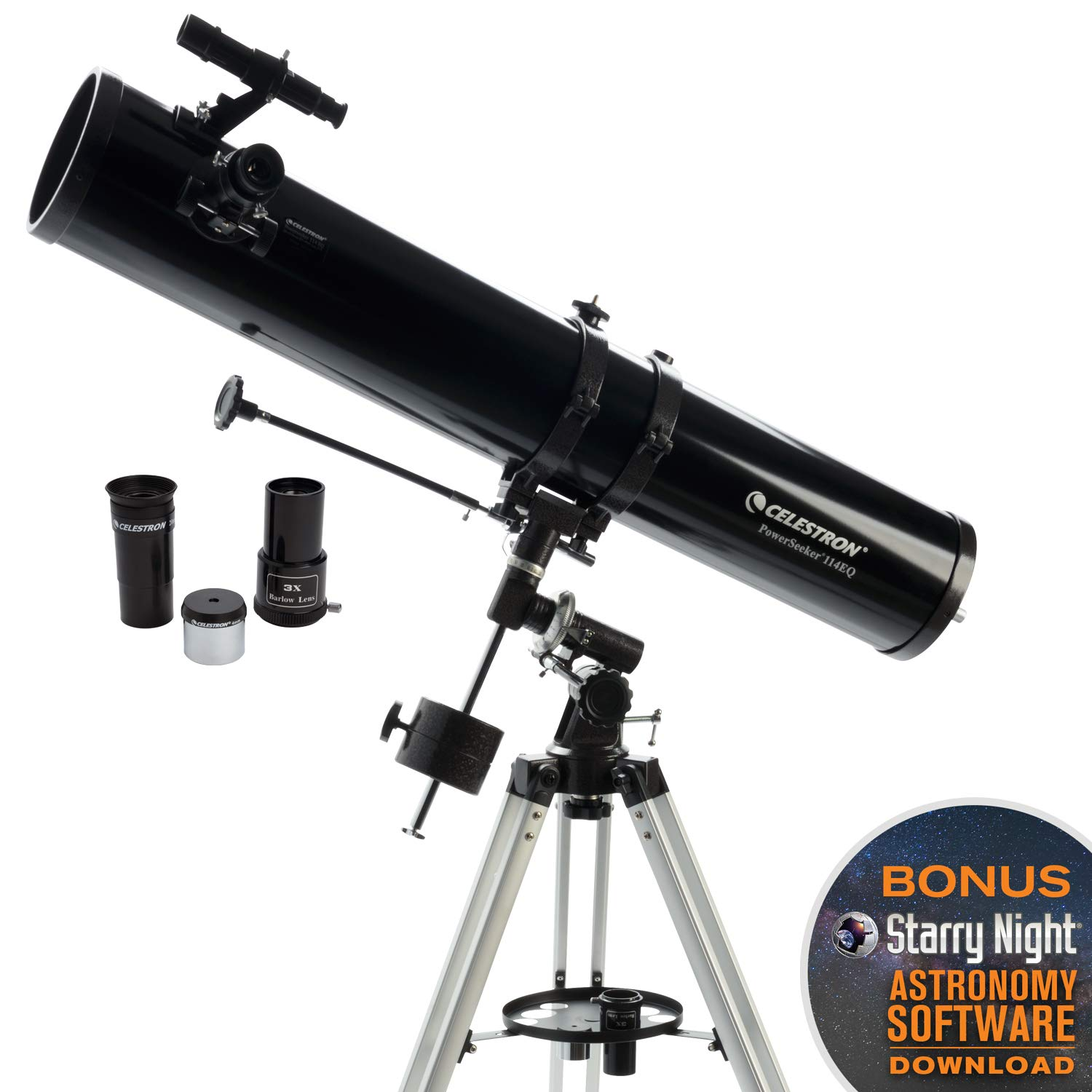 Celestron - PowerSeeker 114EQ Telescope - Manual German Equatorial Telescope for Beginners - Compact and Portable - BONUS Astronomy Software Package - 114mm Aperture by Celestron