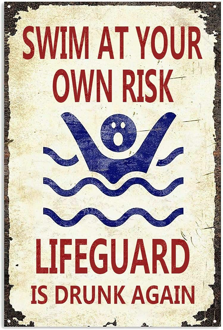 TESPOPOLA Wall Hanging Plaque Wall Decor Poster Art Sign Swim at Your Own Risk for Swimpool Cafe Bar Pub Beer Vintage Sign 11.81 x 7.87 inches 4 Holes