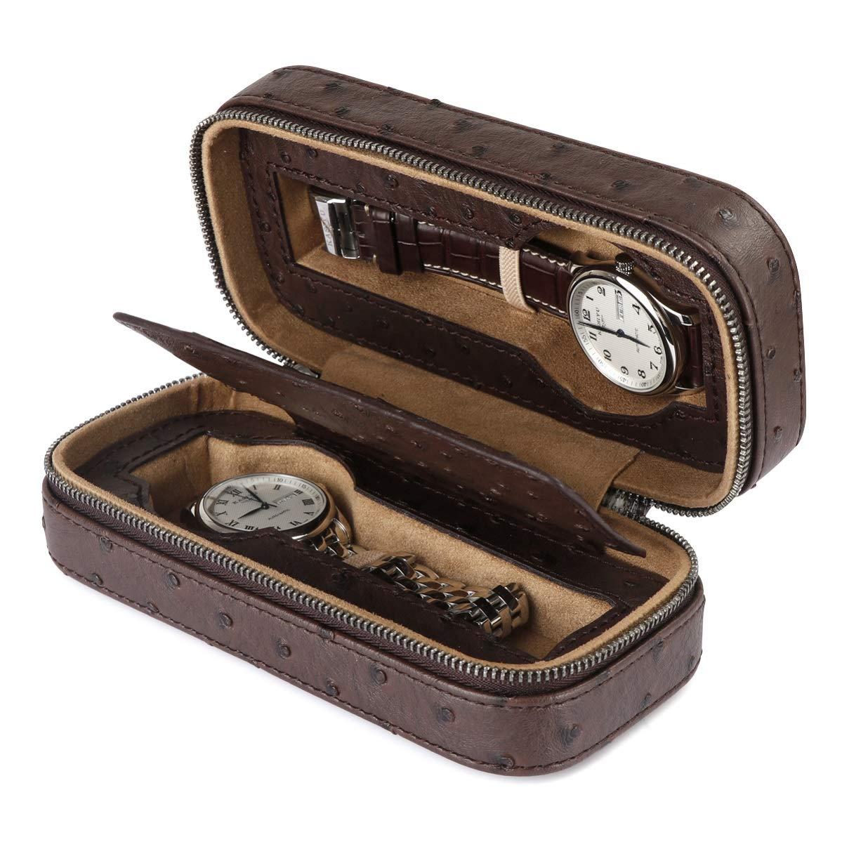 LELADY Caja de Reloj para Hombres, Estuche de Reloj para Mujeres con 2 Rejillas, Cajas de Almacenamiento de Reloj de Viaje de Cuero de PU pequeñas, ...