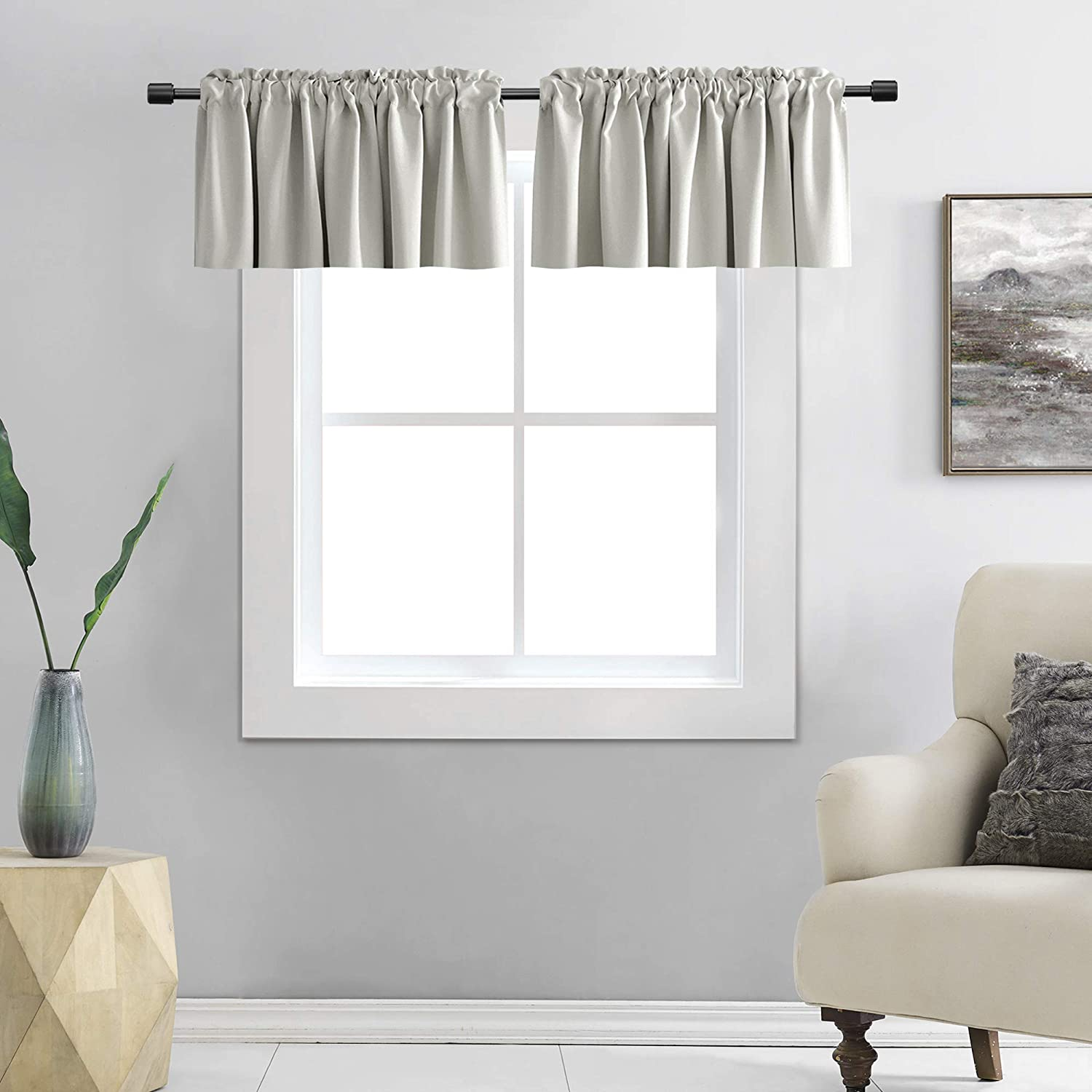 DONREN Light Grey Valance - Kitchen Valances for Small Window with Rod Pocket (2 Panels,42 by 12 Inch)