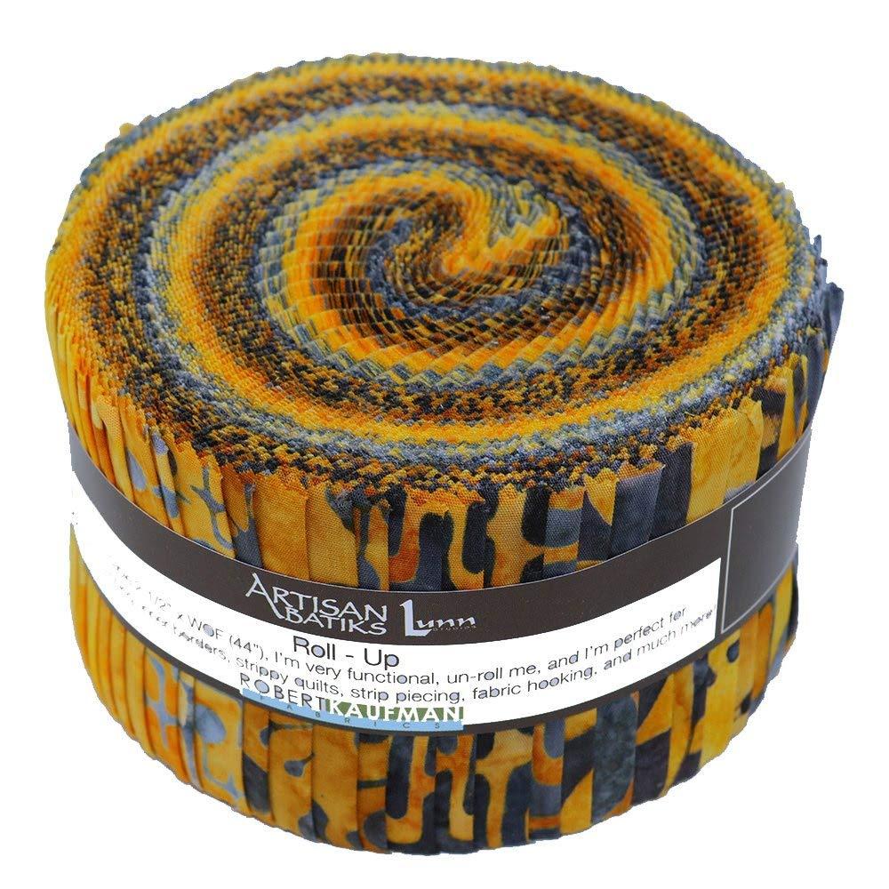 Artisan Batiks Helsinki Gold Roll Up 2.5-inch Quilting Strips Jelly Roll Fabric Robert Kaufman Fabrics, Assorted by Robert Kaufman