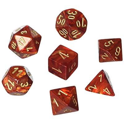 Chessex CHX27414 Dice - Scarab: 7Pc, Scarlet/Gold: Toys & Games