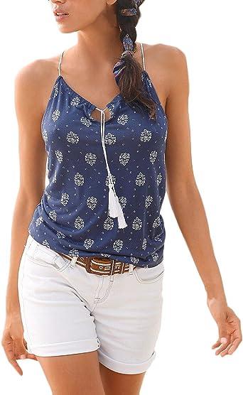 Camisetas Mujer Elegantes Sin Mangas Hombro Descubierto V Cuello Casual Blusas Blusa Hippie Moda Hipster Verano Playa Tops Camisas Niña: Amazon.es: Ropa y accesorios