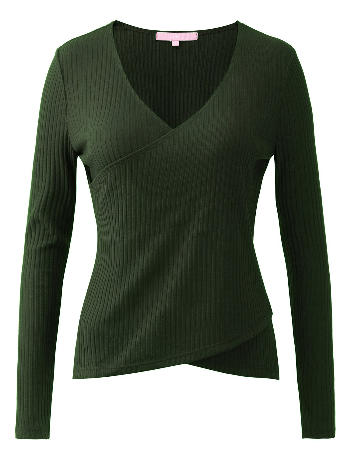 REGNA X Womens crew neck classic loose fit knit sweater top, 17703_green, X-Large