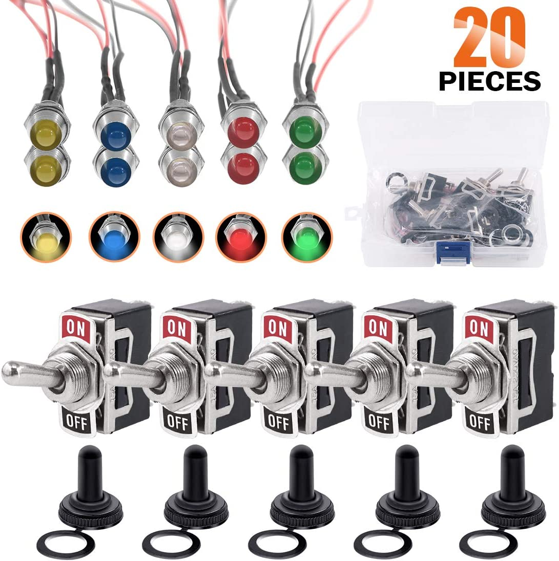 Rustark 5 pcs Heavy Duty 2 Pin ON/Off 15A 250V 20A 125V Rocker Toggle Switch with 5 pcs Rubber Waterproof Boot Cover, 10 pcs 12v LED Metal Indicator Dash Light Auto Accessories for Car Truck Boat
