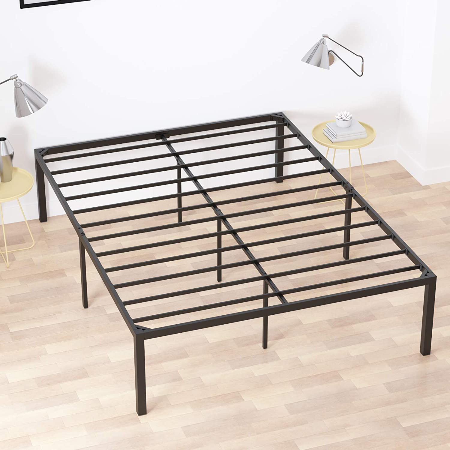 Elephance 18 Inch Metal Platform Bed Frame with Heavy Duty Steel Slat Support No Box Spring Needed Easy Assembly