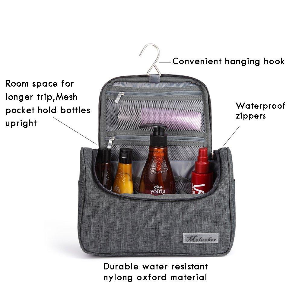 e963389f4b Amazon.com   Toiletry Bag Waterproof Travel Makeup Organizer Bag Bathroom  Storage Shaving Kit Toiletries Bag with Hanging Hook By Meluoher (Gray)    Beauty