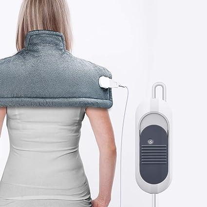 Almohadilla Eléctrica Térmica OMORC 100W 50×56cm cervicales lumbares y espalda, Lavable, Calentamiento