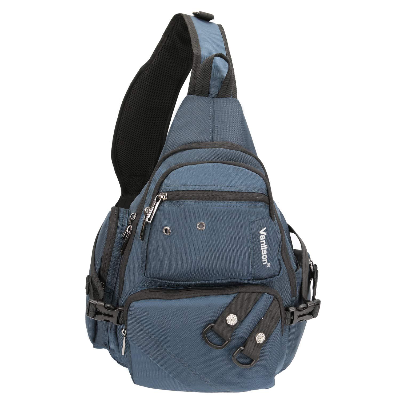 Vanlison Crossbody Sling Bag Backpack for Men Women Large Fits 13 Laptop Tablets Blue