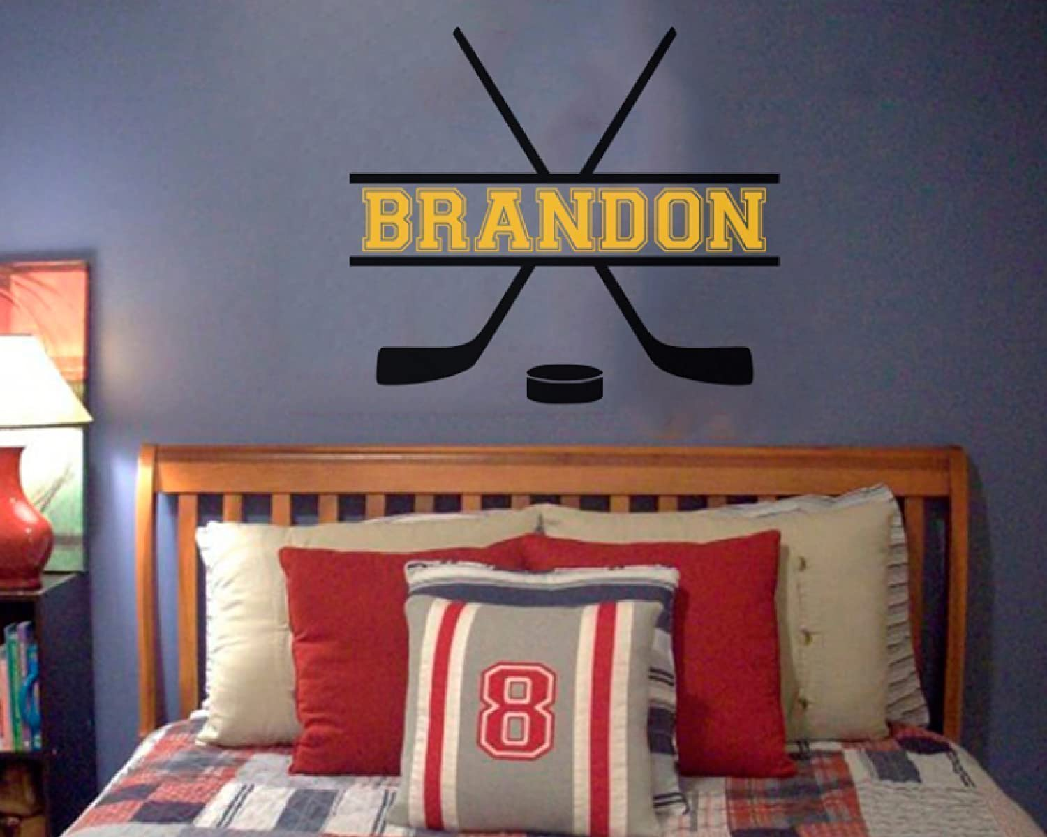 "Custom Name added to Hockey Vinyl Wall Decal - Hockey theme - Personalized Removable sticker perfect for above bed - Sports room 25"" wide x 22"" tall"
