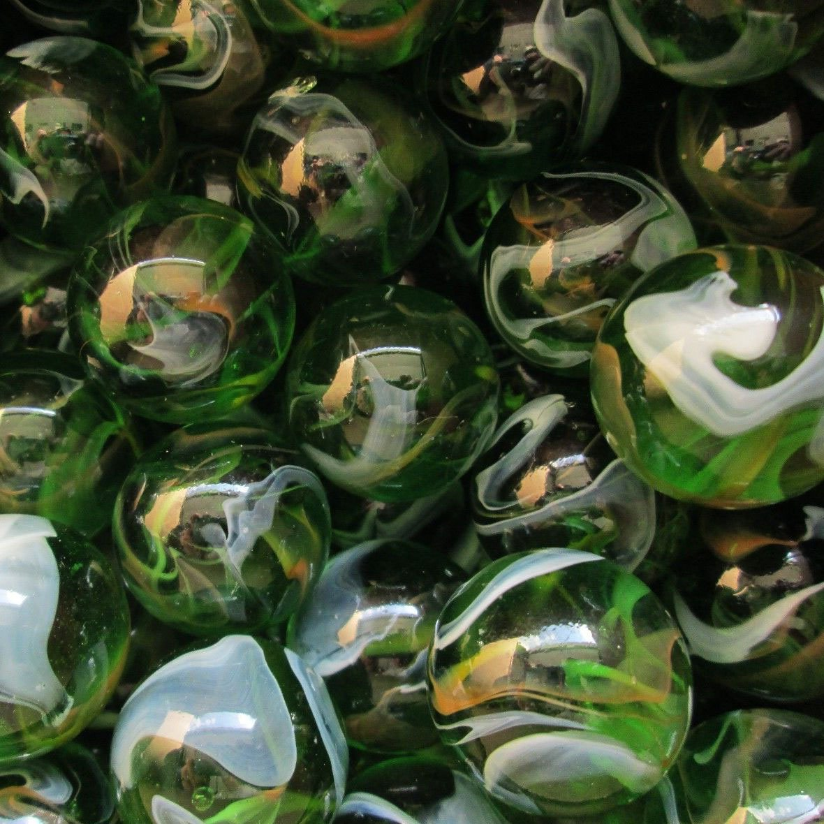 """Unique & Custom {1'' Inch} Set of Approx 50 Big """"Round"""" Clear Marbles Made of Glass for Filling Vases, Games & Decor w/ Shiny Forest Emerald Tone Nature Swirl Design [Green, Yellow & White Color]"""