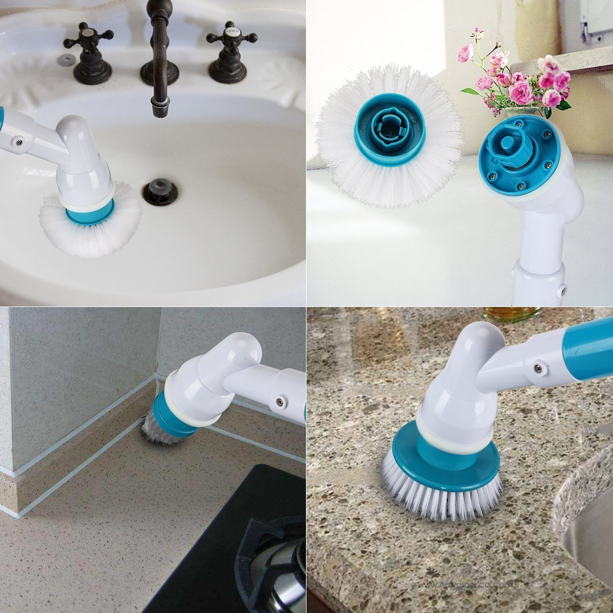 Electric Spin Scrubber Rechargeable Cordless Turbo Scrubber with 3 Replaceable Brush Heads Cleaning Brush with Extension Handle for Bathroom Floor,Tiled Wall,Bathtub and Kitchen Upgraded Greecon
