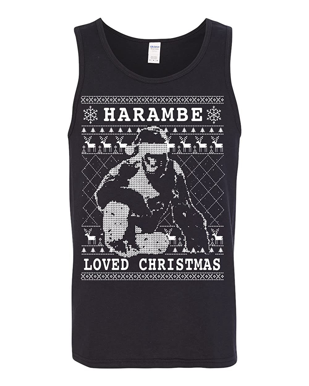 Mens Ugly Christmas Fashion Graphic Tank Top Wild Bobby Harambe Loved Christmas