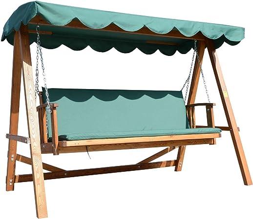 Balancín de jardín Hollywood, de madera, con techo tipo toldo, para 3 o 4 personas: Amazon.es: Hogar