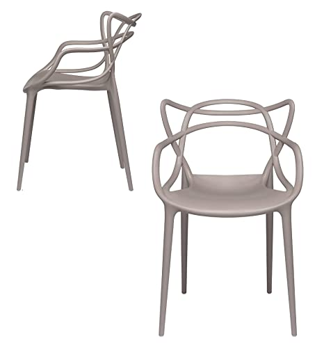 Set of 2 - Masters Entangled Chair Replica - Modern Designer Armchairs for Dining Rooms, Offices and Kitchens (Grey)