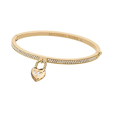 88536aad7e54 Image Unavailable. Image not available for. Color  Michael Kors  quot Logo  Logo Love Gold-Tone Hinged Bracelet