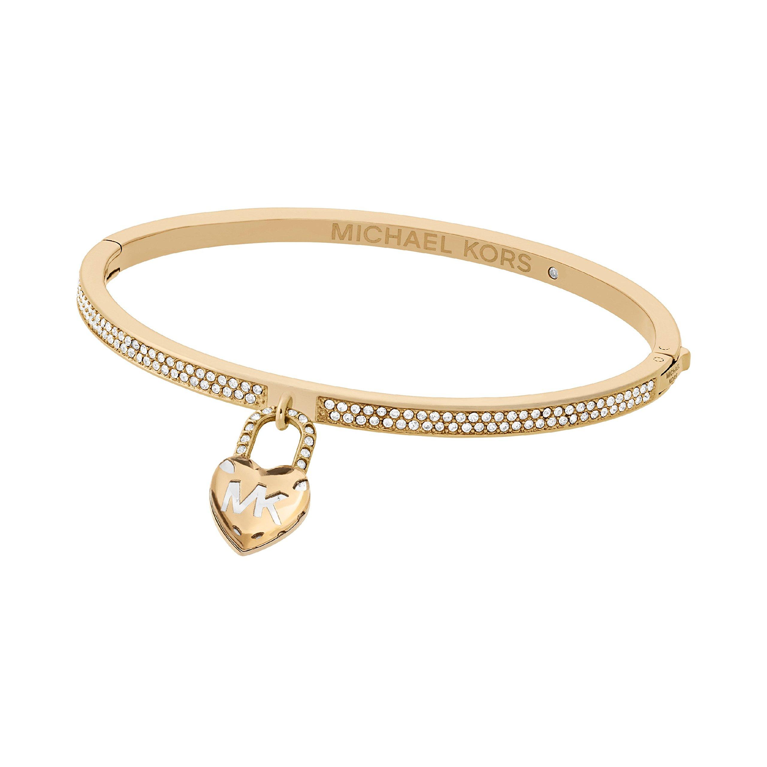 Michael Kors ''Logo'' Logo Love Gold-Tone Hinged Bracelet