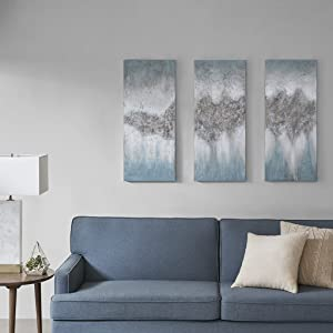 "Madison Park Blue Embellished Hand Painted Luminous Wall Art-Canvas, 15"" W x 35"" H x 1. 5"" D (3)"