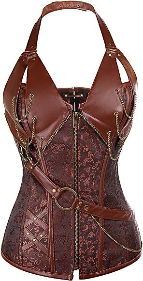 Women/'s Steel Boned Vintage Corset Steampunk Gothic Bustier Waist Cincher Vest