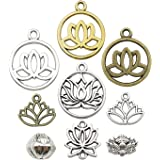 10 Silver Pewter LOTUS FLOWER Charms chs0752