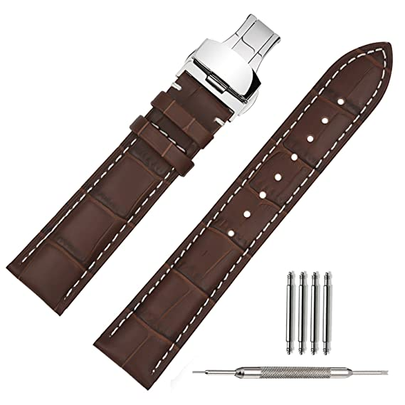 TStrap Genuine Leather Watch Band 18mm Brown Watch Strap w/ Stainless Steel Deployment Clasp Buckle