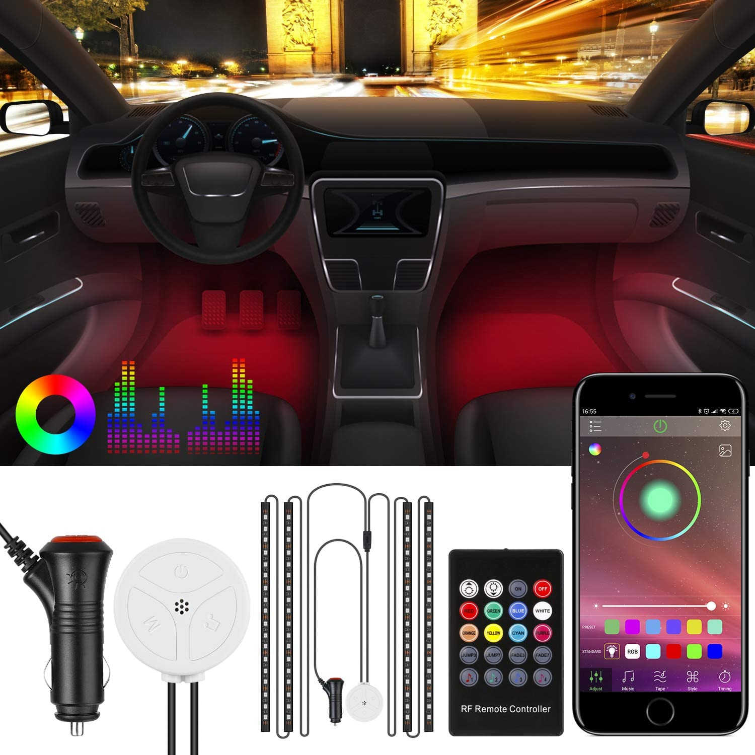 Energieklasse A+ Syn mit Musik 4pcs 72 LED Auto LED Strip BodyCode RGB Auto Innenraumbeleuchtung mit APP und Fernbedienung Auto LED Innenbeleuchtung