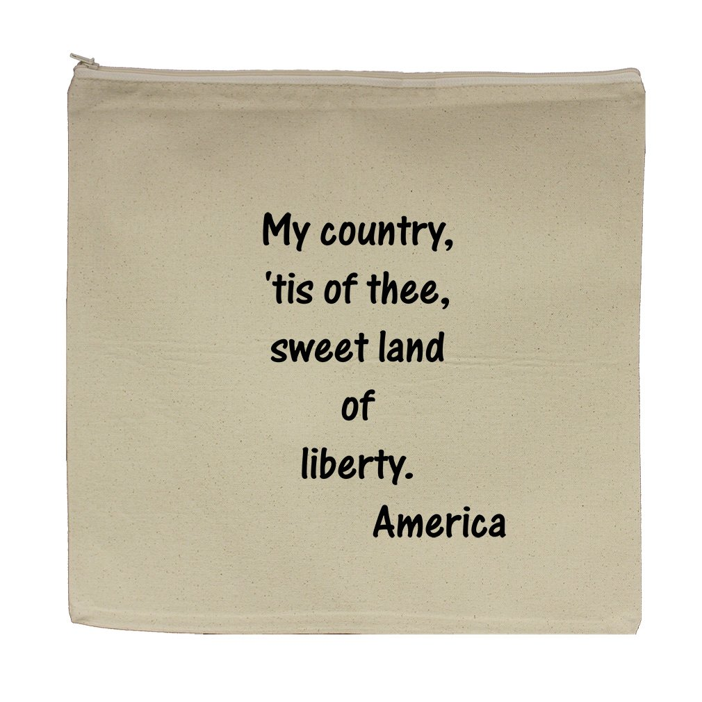 My Country Tis Od Thee Canvas Zipper Tote Bag Makeup Bag