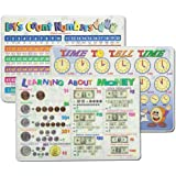 Learning Placemats: Telling Time, Counting Numbers, Learning Money