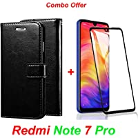 Goelectro Redmi Note 7 Pro / Note7 Pro (Combo Offer) Leather Dairy Flip Case Stand with Magnetic Closure & Card Holder Cover + 6D Curved Tempered Glass Screen Protector (Black Flip)