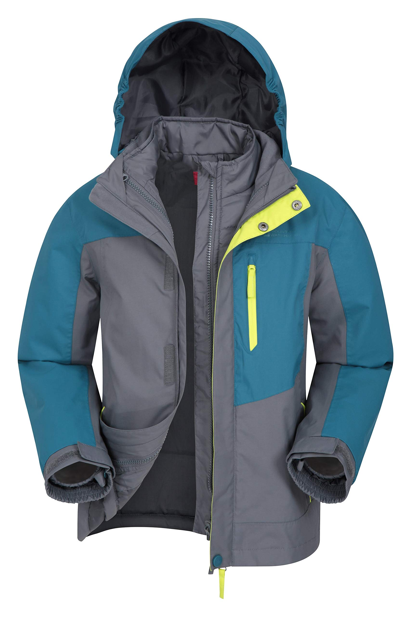 Mountain Warehouse Compass Youth 3 in 1 Rain Jacket -Kids Winter Coat Petrol Blue 11-12 Years by Mountain Warehouse