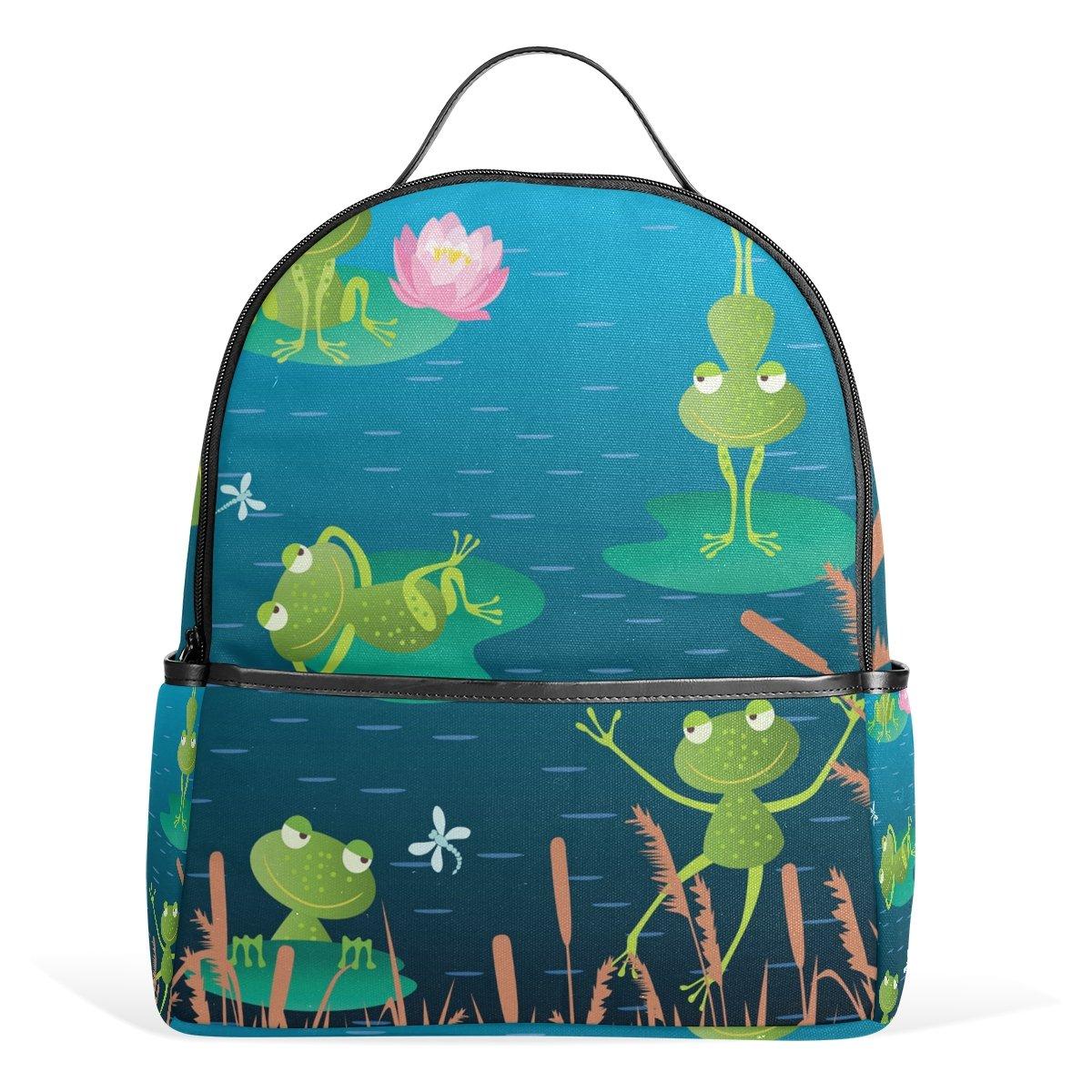 deyya Water Lily Funny Frog KidsスクールバックパックforボーイズGirls Bookbags子供のギフト   B074CF1BFB