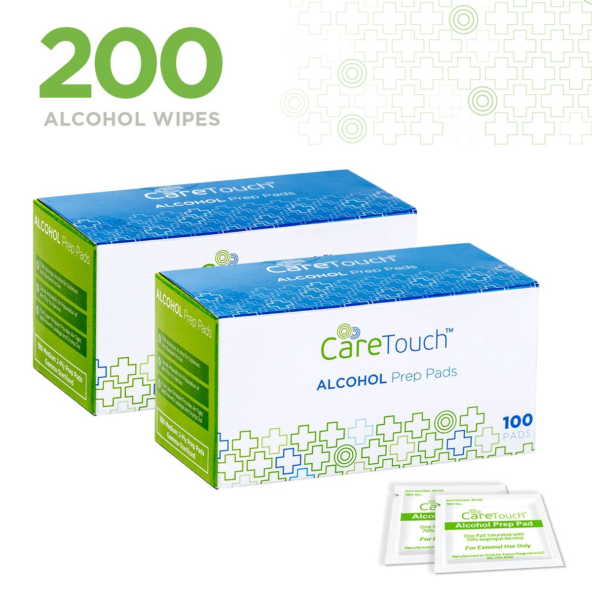 Care Touch Sterile Alcohol Prep Pads, Medium 2-Ply - 200 Alcohol Wipes product