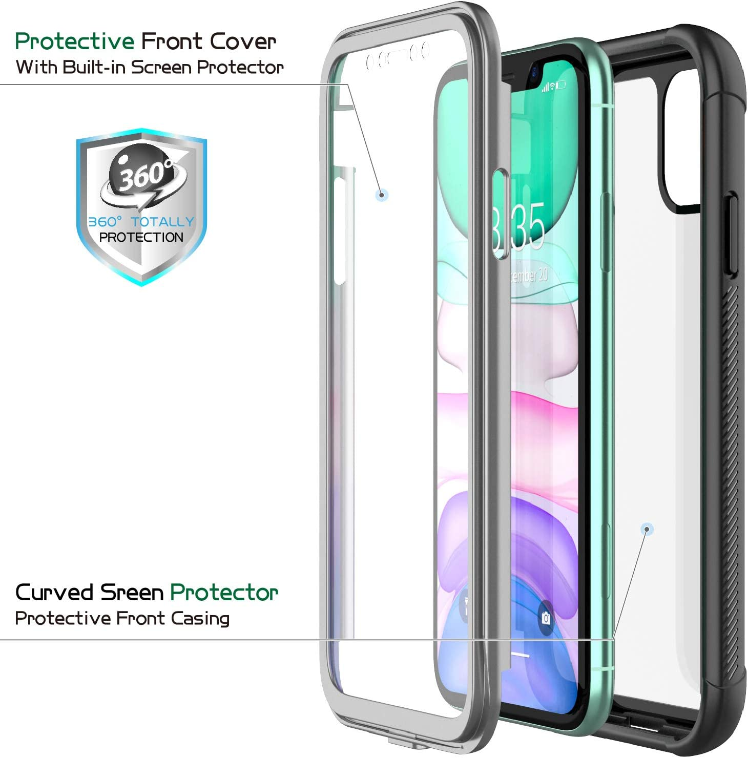 Black+Clear Shockproof Full-Body Heavy Duty Protection with Built-in Screen Protector Rugged Armor Cover for iPhone 11 6.1 Inch 2019 Release Eonfine iPhone 11 Case