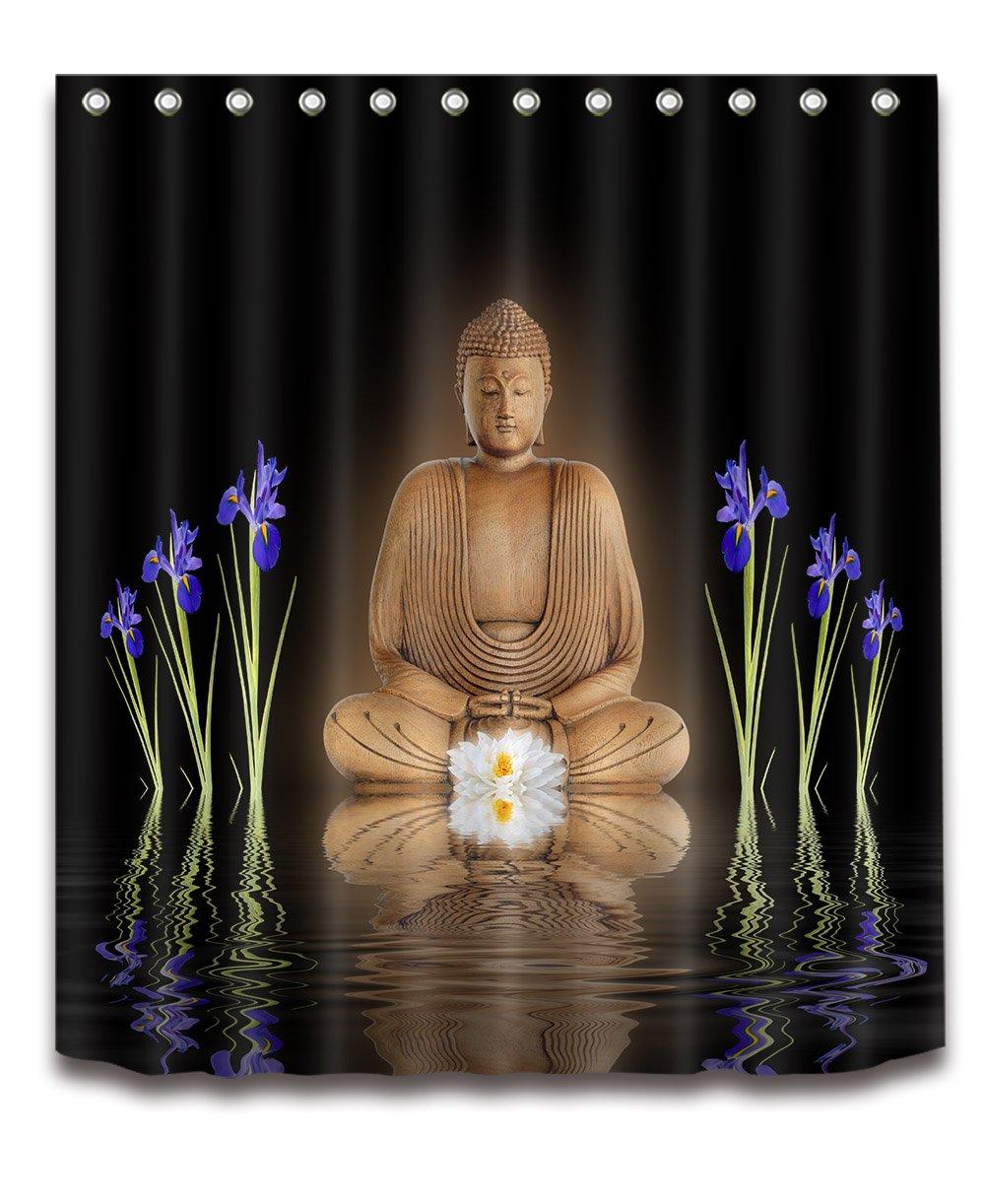 LB India Spa Zen Buddha Water Yoga Hot Spring Meditation Decoration Shower Curtain Polyester Fabric 3D 72x72 inch Mildew Resistant Waterproof Night Golden Light Datura Bathroom Bath Curtains