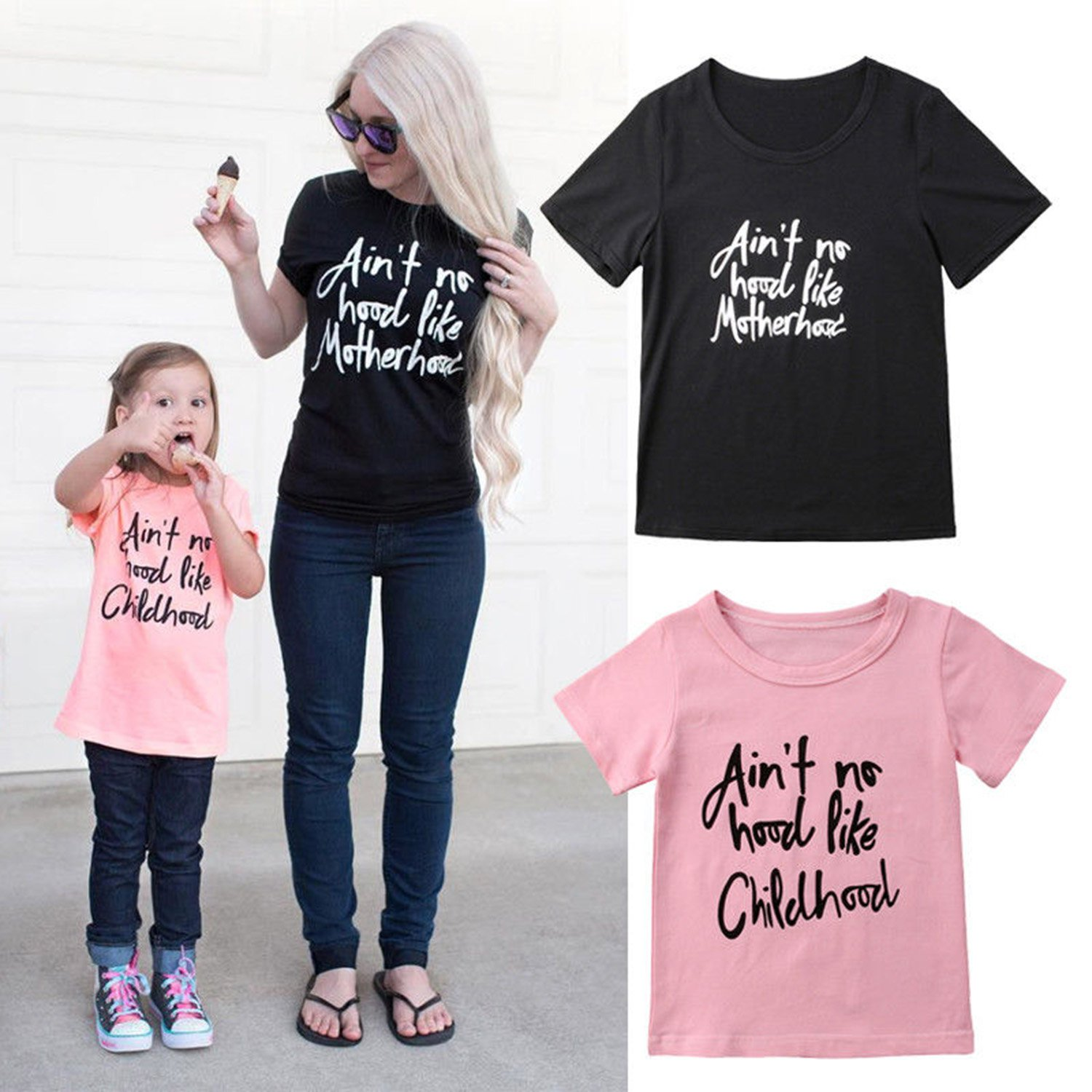 Mommy and Me Matching Letter Print T-Shirt Short Sleeve Top Family Outfits WIFORNT