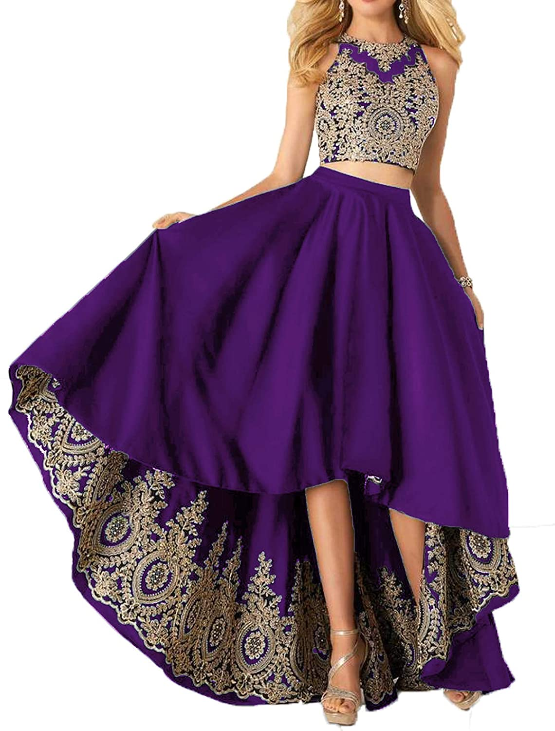 Purple Udresses Two Piece Homecoming Satin Dress Aline Applique Lace Formal Prom Gowns