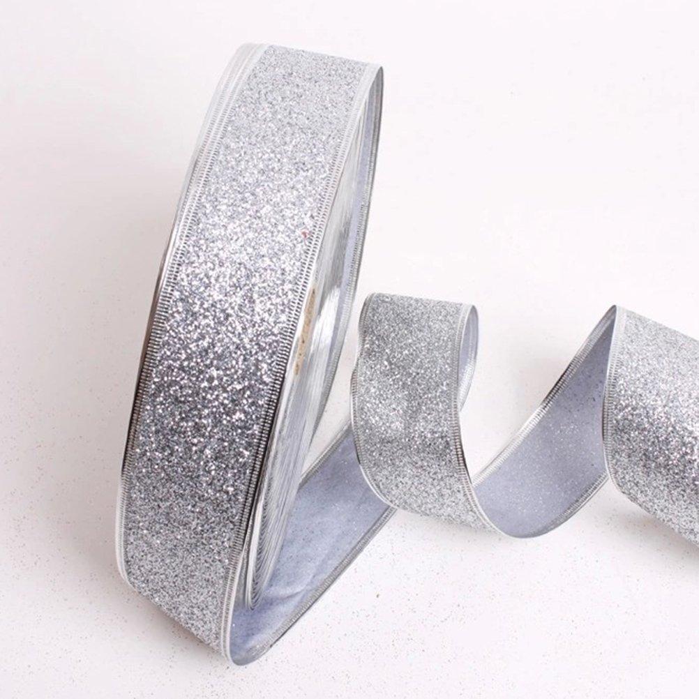 Silber SUPVOX Weihnachten Geschenkband Glizer Dekoband f/ür Geschenk Kuchen Verpackung