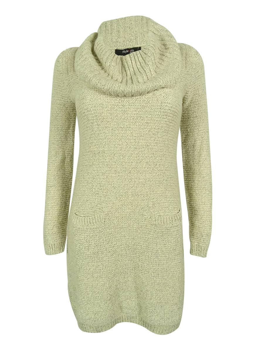 Style & Co. Women's Marled Ribbed-Knit Tunic Sweater (PL, Vanilla/White)