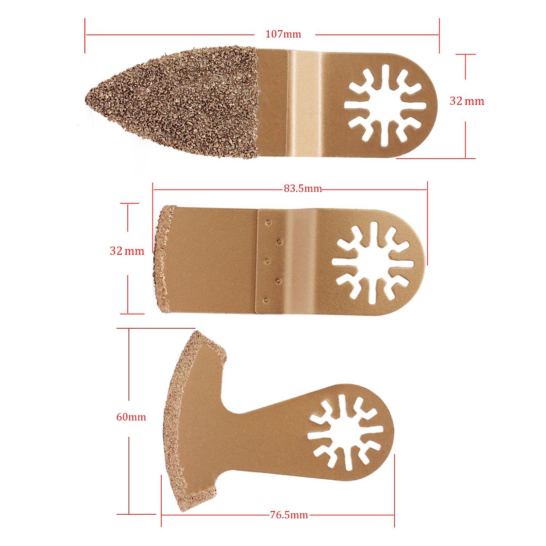 HSeaMall Kit de cuchillas de sierra oscilante de carburo 6 piezas Bosch Accesorios de herramientas m/últiples Hojas de sierra para azulejo de lechada Dremel Mortero de hormig/ón 14PCS