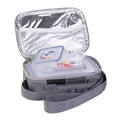 LOCK IT - Lunch Box with 4 Sided Aqua Lock It Containers & Thermal Pouch 2 Pcs Set (LO-701) Lunch Boxes at amazon