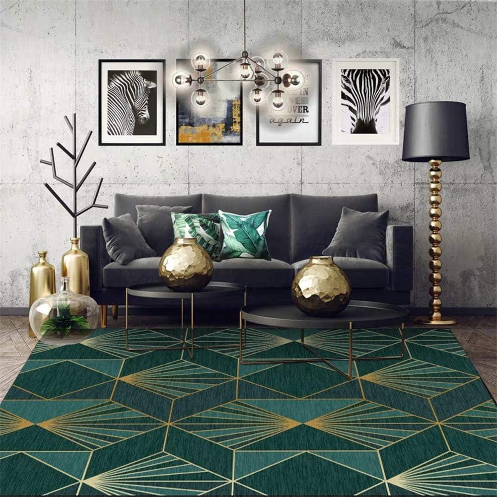 Amazon Com Modern Floor Carpet For Living Room Emerald Luxurious Anti Slip Geometric Area Rug For Bedroom Home Decor Dark Green Golden A 40x60cm 15 7x23 6inch Home Kitchen