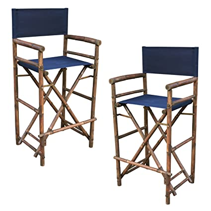 Tremendous Zew Hand Crafted Tall Foldable Bamboo Directors Chair With Treated Canvas Set Of 2 Chairs Espresso Finish Indigo Caraccident5 Cool Chair Designs And Ideas Caraccident5Info
