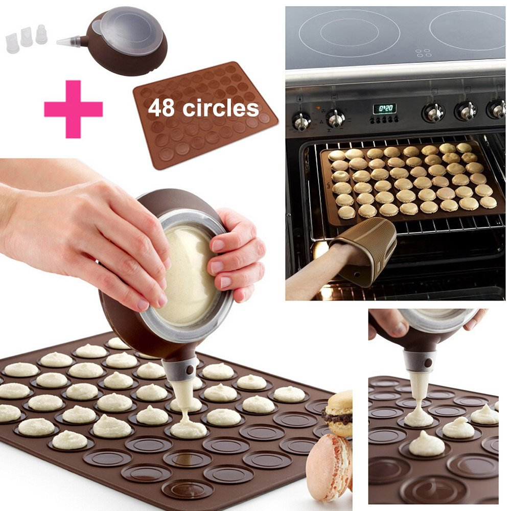 WOMHOPE Silicone Decomax Pen with 4 Nozzles + 1 x Baking Sheet - Cup Cake Muffin Pastry Cream Icing Nozzle - Macaron Kit (Brown (Decomax Pen with 4 Nozzles + 1 x Macaron Mold Mat))