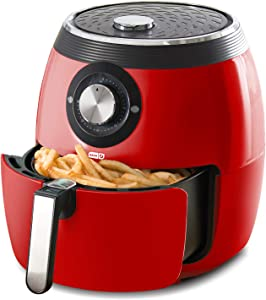 Dash DFAF455GBRD01 Deluxe Electric Air Fryer + Oven Cooker with Temperature Control, Non-stick Fry Basket, Recipe Guide + Auto Shut off Feature, 1700-Watt, 6 Quart, 6qt, Red