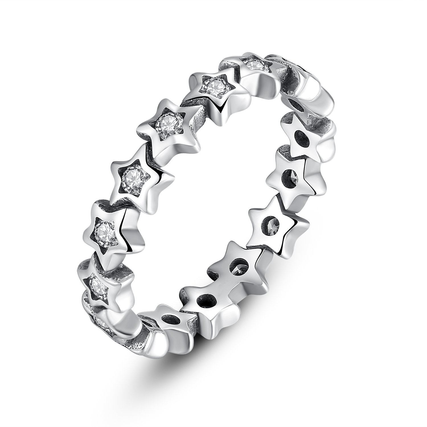 Star Trail Stackable Finger Ring For Women Wedding 100% 925 Sterling Silver Jewelry (7)