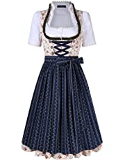 CYNDIE Women's Floral Criss- Cross Tie Layered Casual Dresses Suit for Oktoberfest